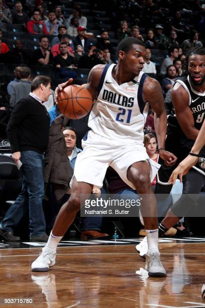 Jalen Jones of the Dallas Mavericks handles the ball during the game against the Brooklyn Nets on March 17 2018 at Barclays Center in Brooklyn New...