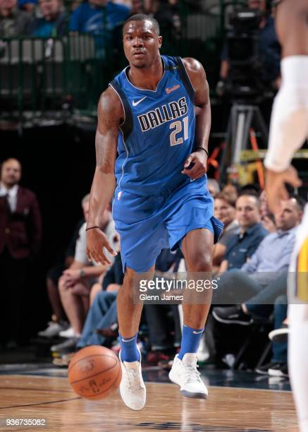 Jalen Jones of the Dallas Mavericks handles the ball during the game against the Utah Jazz on March 22 2018 at the American Airlines Center in Dallas...