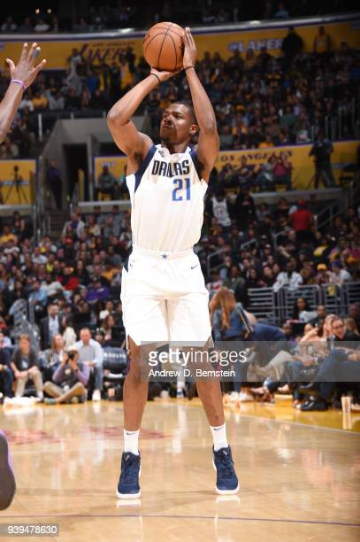 Jalen Jones of the Dallas Mavericks shoots the ball during the game against the Los Angeles Lakers on March 28 2018 at STAPLES Center in Los Angeles...