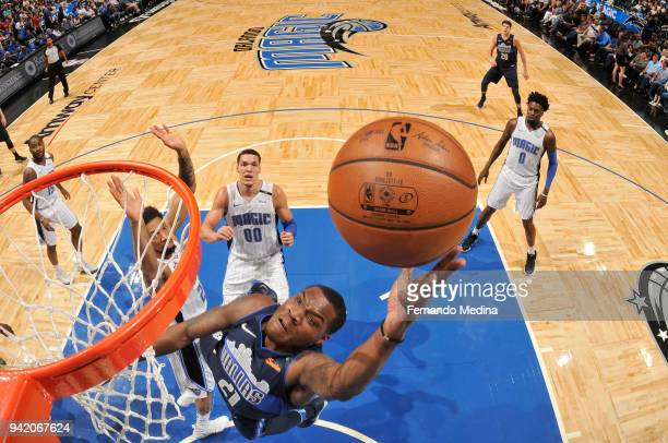 Jalen Jones of the Dallas Mavericks shoots the ball during the game against the Orlando Magic on April 4 2018 at Amway Center in Orlando Florida NOTE...