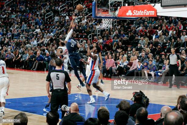 Jalen Jones of the Dallas Mavericks shoots the ball during the game against the Detroit Pistons on April 6 2018 at Little Caesars Arena in Detroit...