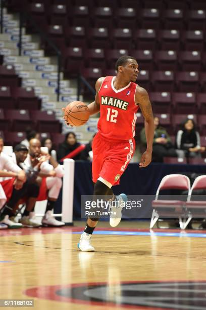 Jalen Jones of the Maine Red Claws dribbles the ball against the Raptors 905 during Game Two of the NBA DLeague Eastern Conference Finals on April 19...