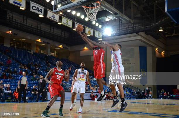 Jalen Jones of the Maine Red Claws goes up for a shot during the game against the Delaware 87ers on February 14 2017 at the Bob Carpenter Center in...