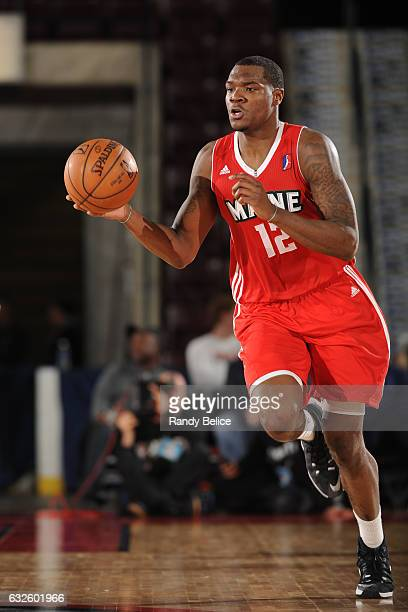 Jalen Jones of the Maine Red Claws handles the ball during the game against the Fort Wayne Mad Ants as part of 2017 NBA DLeague Showcase at the...