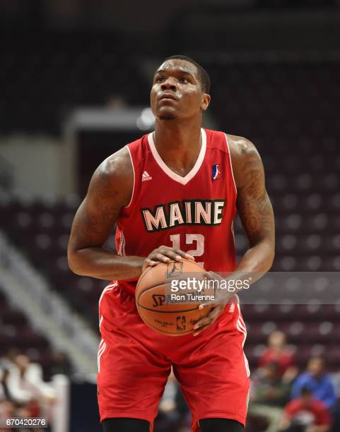Jalen Jones of the Maine Red Claws shoots the free throw during the game against the Raptors 905 at the Hershey Centre on April 19 2017 in...