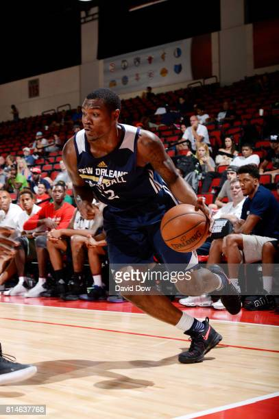 Jalen Jones of the New Orleans Pelicans drives to the basket against the Denver Nuggets during the 2017 Summer League on July 14 2017 at Cox...