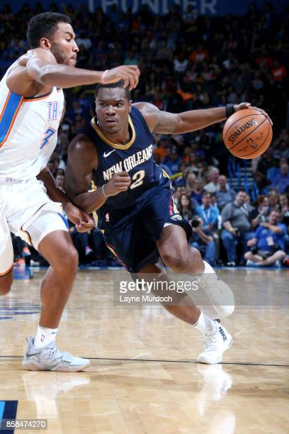 Jalen Jones of the New Orleans Pelicans drives to the basket during the game against the Oklahoma City Thunder during a preseason game on October 6...