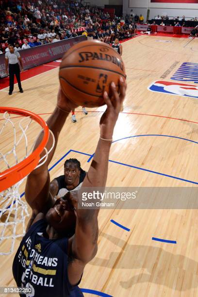 Jalen Jones of the New Orleans Pelicans dunks the ball during the game against the Atlanta Hawks during the 2017 Las Vegas Summer League on July 12...