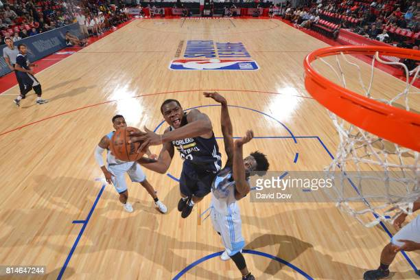 Jalen Jones of the New Orleans Pelicans goes for a lay up against the Denver Nuggets during the 2017 Summer League on July 14 2017 at Cox Pavillion...