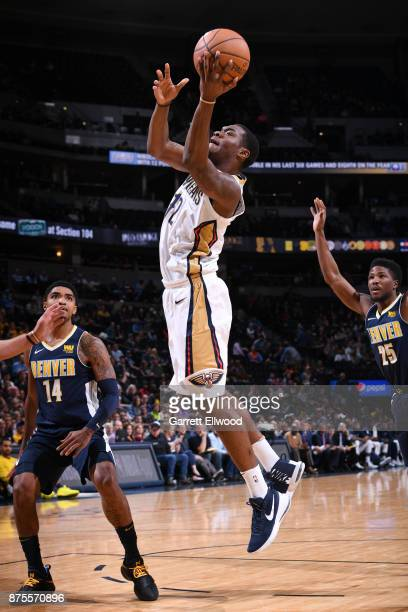 Jalen Jones of the New Orleans Pelicans goes to the basket against the Denver Nuggets on November 17 2017 at the Pepsi Center in Denver Colorado NOTE...