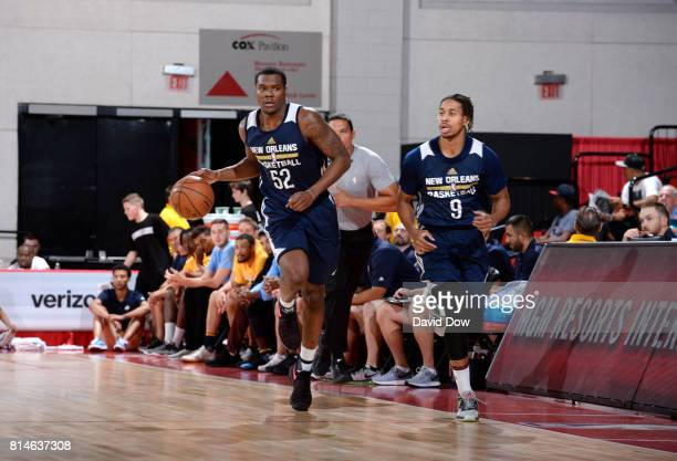 Jalen Jones of the New Orleans Pelicans handles the ball against the Denver Nuggets during the 2017 Summer League on July 14 2017 at Cox Pavillion in...