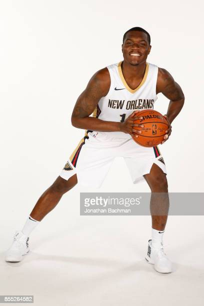 Jalen Jones of the New Orleans Pelicans poses for a portrait during media day on September 25 2017 at Smoothie King Center in New Orleans Louisiana...