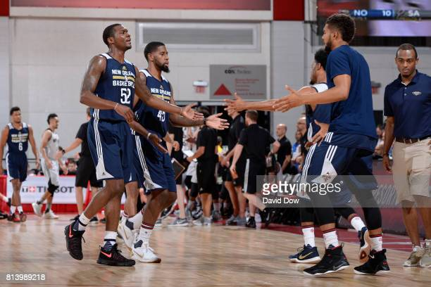 Jalen Jones of the New Orleans Pelicans shakes teammates hands against the San Antonio Spurs during the 2017 Las Vegas Summer League game on July 13...