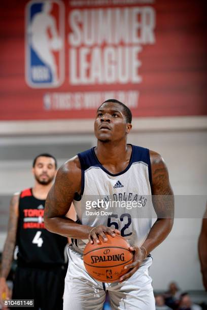 Jalen Jones of the New Orleans Pelicans shoots a free throw during the game against the Toronto Raptors during the 2017 Las Vegas Summer League on...