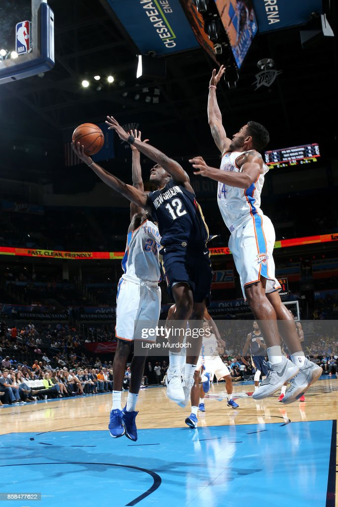 Jalen Jones #12 of the New Orleans Pelicans shoots a lay up during the game against the Oklahoma City Thunder during a preseason game on October 6, 2017 at Chesapeake Energy Arena in Oklahoma City, Oklahoma.