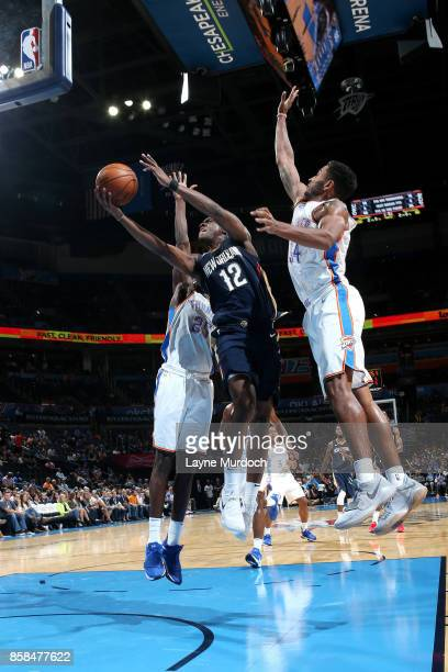Jalen Jones of the New Orleans Pelicans shoots a lay up during the game against the Oklahoma City Thunder during a preseason game on October 6 2017...