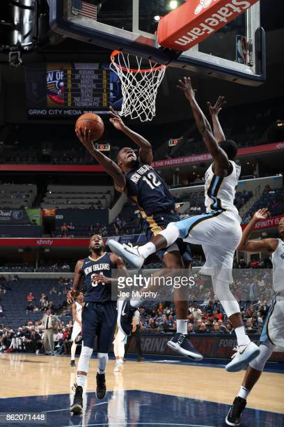 Jalen Jones of the New Orleans Pelicans shoots the ball during a preseason game against the Memphis Grizzlies on October 13 2017 at FedExForum in...