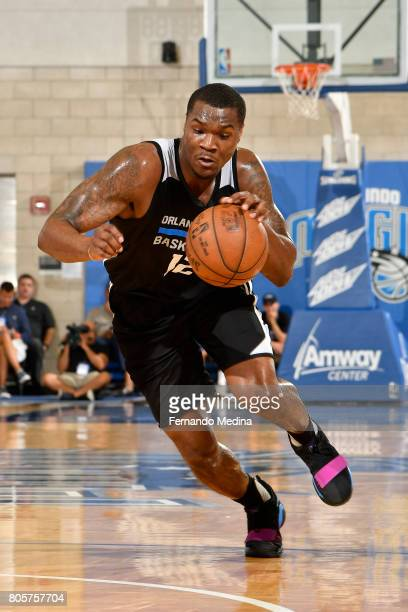 Jalen Jones of the Orlando Magic handles the ball against the Miami Heat during the 2017 Summer League on July 2 2017 at Amway Center in Orlando...
