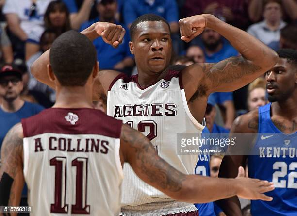 Jalen Jones of the Texas AM Aggies celebrates after dunking against the Kentucky Wildcats during the SEC Basketball Tournament Championship at...