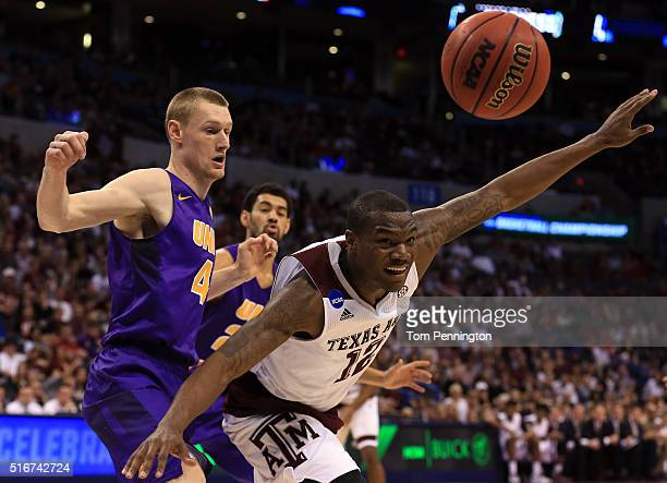 Jalen Jones of the Texas AM Aggies looks for the ball against Paul Jesperson of the Northern Iowa Panthers during the second round of the 2016 NCAA...