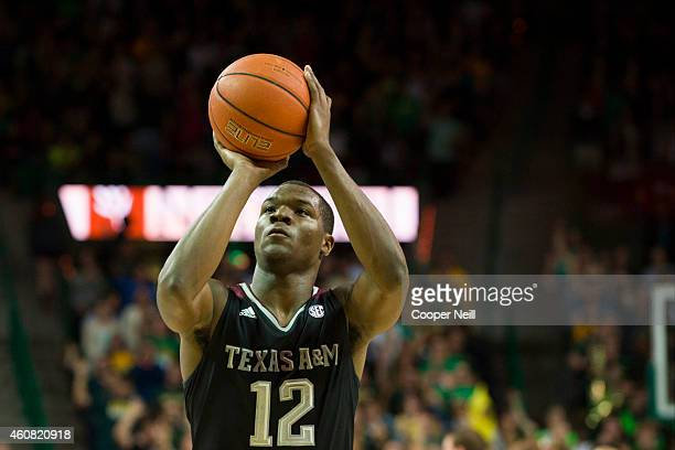 Jalen Jones of the Texas AM Aggies shoots a freethrow against the Baylor Bears on December 9 2014 at the Ferrell Center in Waco Texas