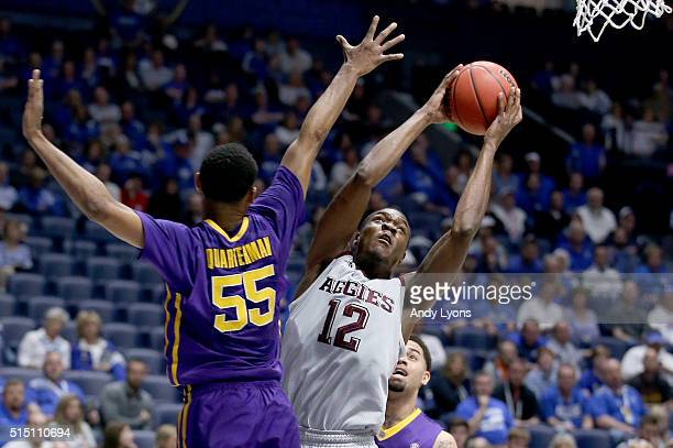 Jalen Jones of the Texas AM Aggies shoots the ball in the game against the LSU Tigers during the semifinals of the SEC Tournament at Bridgestone...