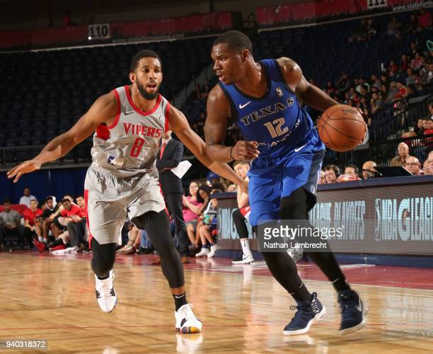 Jalen Jones of the Texas Legends dribbles the ball as Darius Morris of the Rio Grande Valley Vipers defends during Round One of the NBA GLeague...