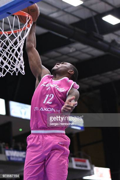 Jalen Jones of the Texas Legends dunks the ball against the Northern Arizona Suns during the NBA GLeague on February 23 2018 at the Dr Pepper Arena...