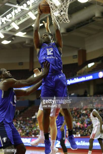 Jalen Jones of the Texas Legends grabs the rebound against the Memphis Hustle during an NBA GLeague game on January 29 2018 at Landers Center in...