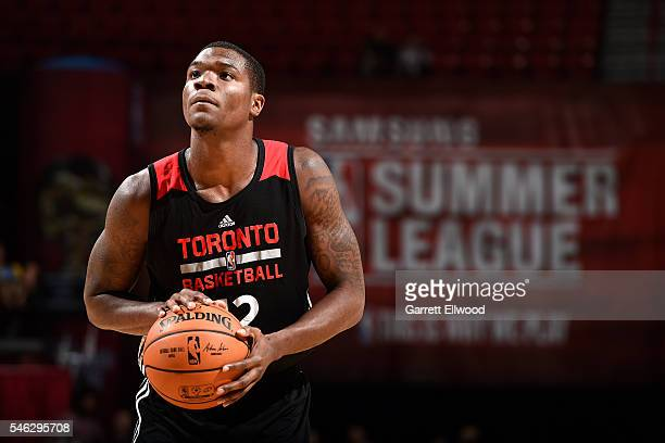 Jalen Jones of Toronto Raptors shoots a free throw during the game against the Dallas Mavericks during the 2016 Las Vegas Summer League on July 11...