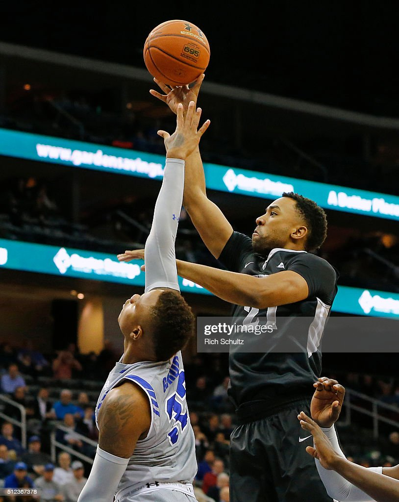 Jalen Lindsey #21 of the Providence Friars attempts a shot as Derrick Gordon #32 of the Seton Hall Pirates defends during the first half of an NCAA college basketball game on February 25, 2016 at the Prudential Center in Newark, New Jersey. Seton Hall defeated Providence 70-52.