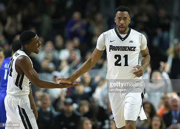 Jalen Lindsey of the Providence Friars celebrates his basket with Kyron Cartwright in the second half against the Creighton Bluejays on March 2 at...