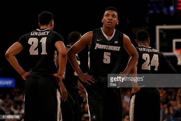 Jalen LindseyRodney Bullock and Kyron Cartwright of the Providence Friars react late in the second half against the Villanova Wildcats during the...
