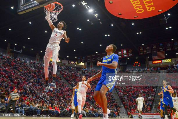 Jalen McDaniels of the San Diego State Aztecs dunks the ball in the first half against the San Jose State Spartans at Viejas Arena on March 02, 2019...
