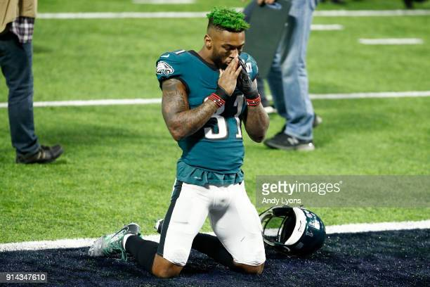 Jalen Mills of the Philadelphia Eagles celebrates after defeating the New England Patriots 4133 in Super Bowl LII at US Bank Stadium on February 4...