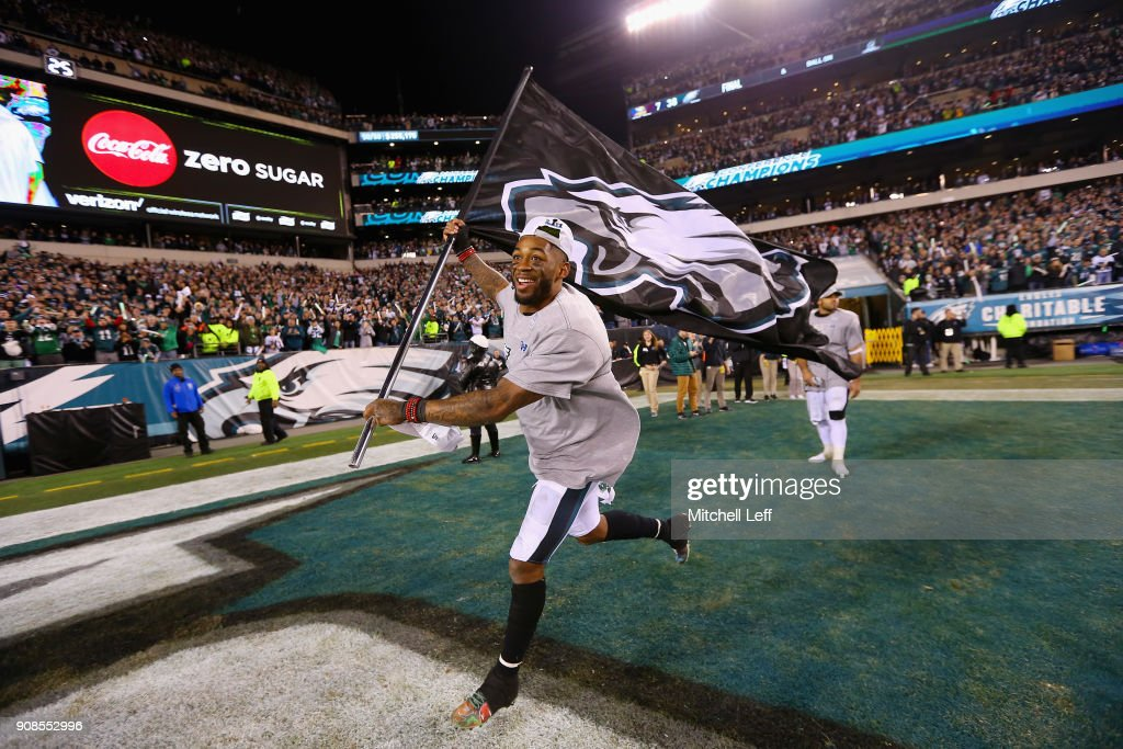 Jalen Mills #31 of the Philadelphia Eagles celebrates his teams win over the Minnesota Vikings in the NFC Championship game at Lincoln Financial Field on January 21, 2018 in Philadelphia, Pennsylvania. The Philadelphia Eagles defeated the Minnesota Vikings 38-7.