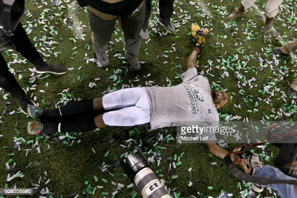 Jalen Mills of the Philadelphia Eagles celebrates his teams win over the Minnesota Vikings in the NFC Championship game at Lincoln Financial Field on...