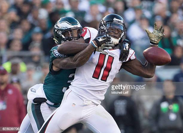 Jalen Mills of the Philadelphia Eagles interferes with Julio Jones of the Atlanta Falcons in the fourth quarter at Lincoln Financial Field on...