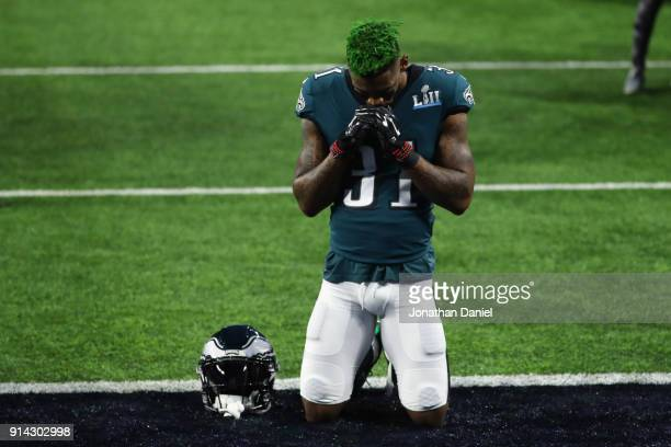 Jalen Mills of the Philadelphia Eagles kneels on the field prior to Super Bowl LII against the New England Patriots at US Bank Stadium on February 4...