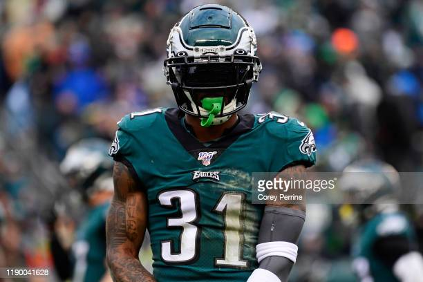 Jalen Mills of the Philadelphia Eagles looks on during the third quarter at Lincoln Financial Field on November 24 2019 in Philadelphia Pennsylvania...