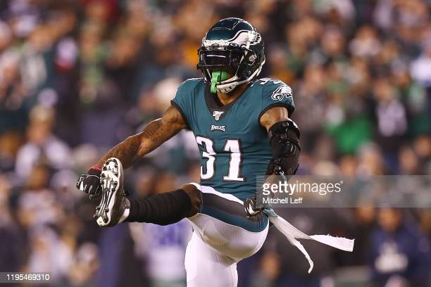 Jalen Mills of the Philadelphia Eagles reacts after breaking up a pass during the first quarter against the Dallas Cowboys in the game at Lincoln...