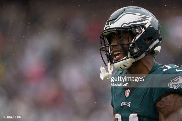 Jalen Mills of the Philadelphia Eagles reacts against the Indianapolis Colts at Lincoln Financial Field on September 23 2018 in Philadelphia...