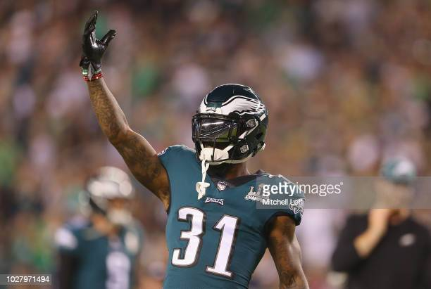 Jalen Mills of the Philadelphia Eagles reacts before the game against the Atlanta Falcons at Lincoln Financial Field on September 6 2018 in...