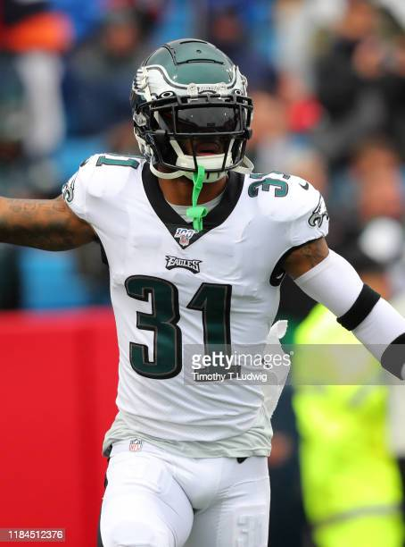 Jalen Mills of the Philadelphia Eagles runs on the field before a game against the Buffalo Bills at New Era Field on October 27 2019 in Orchard Park...