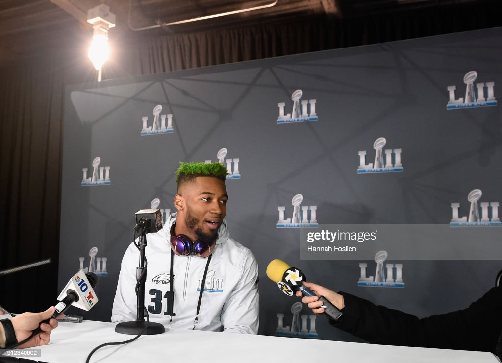 Jalen Mills #31 of the Philadelphia Eagles speaks to the media during Super Bowl LII media availability on January 30, 2018 at Mall of America in Bloomington, Minnesota. The Philadelphia Eagles will face the New England Patriots in Super Bowl LII on February 4th.
