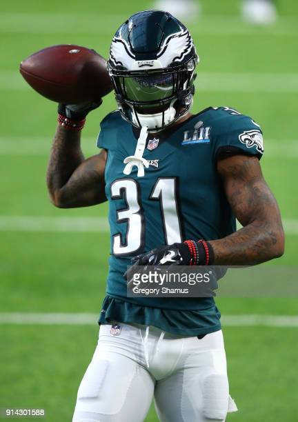 Jalen Mills of the Philadelphia Eagles warms up prior to Super Bowl LII against the New England Patriots at US Bank Stadium on February 4 2018 in...