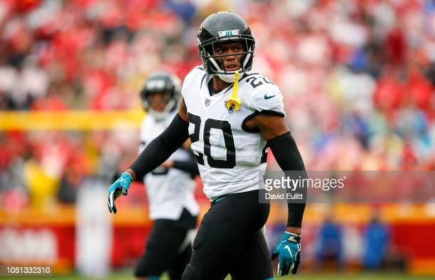 Jalen Ramsey cornerback with the Jacksonville Jaguars spoke to a referee during the game against the Kansas City Chiefs at Arrowhead Stadium on...