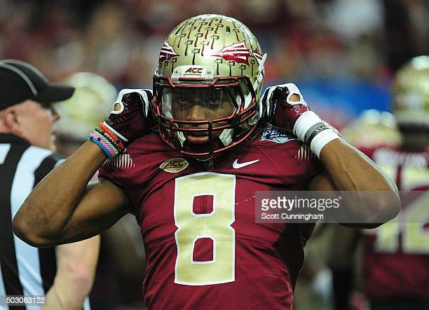Jalen Ramsey of the Florida State Seminoles heads off the field against the Houston Cougars during the ChickFilA Peach Bowl at the Georgia Dome on...