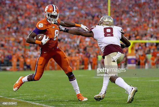 Jalen Ramsey of the Florida State Seminoles knocks Deon Cain of the Clemson Tigers out of bounds during their game at Memorial Stadium on November 7...