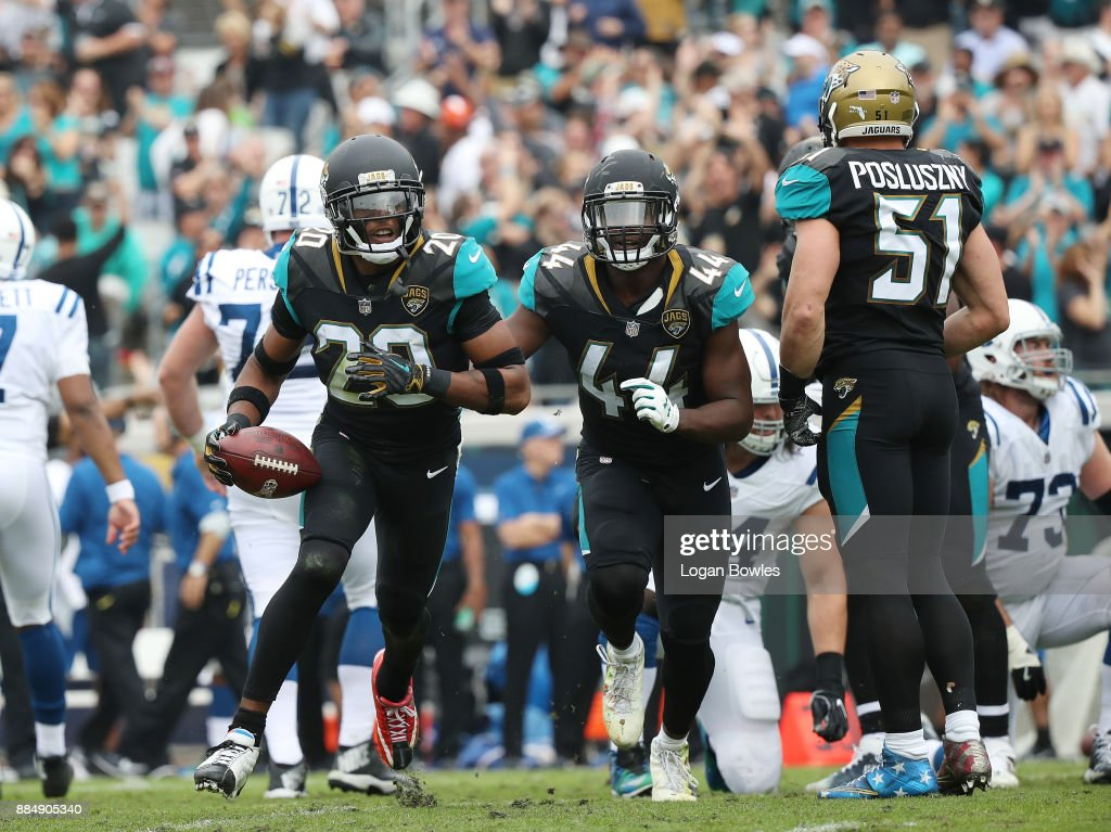 Jalen Ramsey #20 of the Jacksonville Jaguars and his teammates celebrate after Ramsey had a an interception in the first half of their game against the Indianapolis Colts at EverBank Field on December 3, 2017 in Jacksonville, Florida.